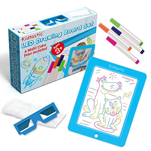 Kidtastic LED Drawing Board - Glow in The Dark, No Mess, Learning Tablet for Ages 3 and Up - with 6 Children Art Designs
