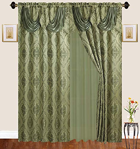Fancy Linen 2 Panel Rod Pocket Embroidery Sage Green Curtains with Attached Valance and Sheer Backing for Living Room, Dining Room or Bedroom New #Emma 25L 2 New Valances Curtains