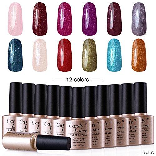 Candy Lover 12pcs Gel Nail Polish Soak Off Nails Art Salon Starter Kits 10ml UV Led High-Gloss Nails Varnish Sets Nail Lacquers Set #23