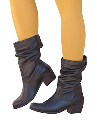 5266f70c890 Amazon.com: PiePieBuy Women's Faux Leather Mid Calf Slouch Boots ...