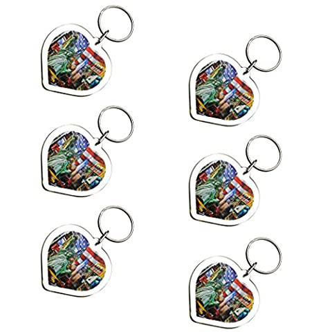 6X Ultimate Collectible New York Manhattan Color Landmarks Heart Shaped Photo Keychain Key Ring Gift Souvenir - Apple Shaped Key