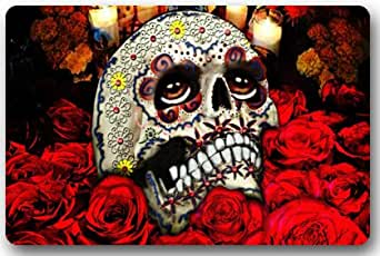 """Dia De Los Muertos Suger Skull and Flower Rectangle Entryways Non Slip Doormat Floor Mat - 23.6""""(L) x 15.7""""(W), 3/16"""" Thickness"""