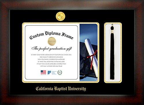 California Baptist University 11 x 14 Mahogany Finish Infinity Diploma Frame with Tassel Box by Celebration Frames