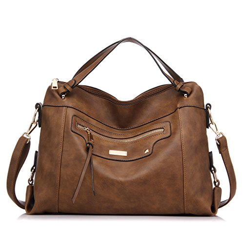 Realer Handbags for Women Large Capacity Purse PU Leather Office Shoulder Bag Brown