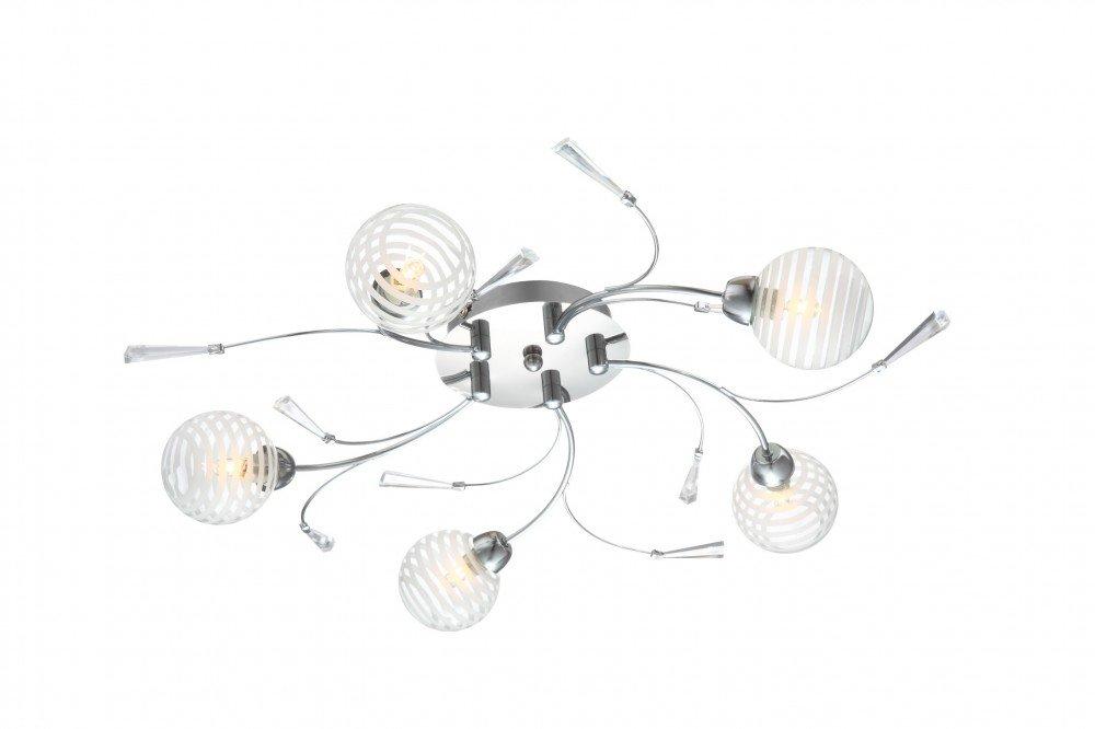 Modische 5-flg Decken Leuchte Lampe Diele Chrom Glas Acryl Globo DANAS 56393-5D