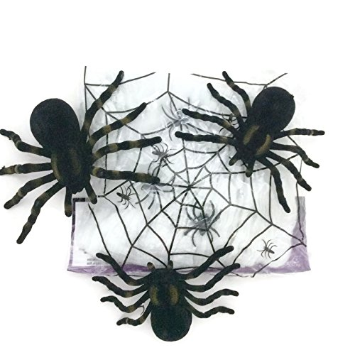 (Halloween Spider Web Bundle with 1 Pack of Webbing and 3 Large Tarantula Spiders)