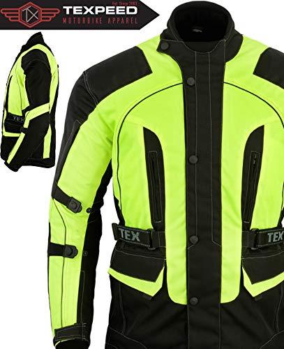 Texpeed motorjas voor heren zwart & geel waterdicht met protectoren