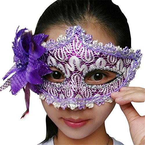 ACE SHOCK Lace Costume Mask for Women Sexy, Halloween Masquerade Elegant Glitter Eye Masks Black White (Purple) -