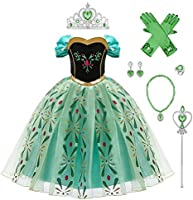 OBEEII Anna Frozen Costume Princess Elsa Snow Queen Dress Fancy Embroidery Dress Up for Girls Cosplay Show Christmas...