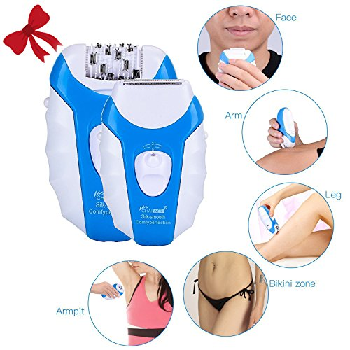 Hair Epilator, CHAINER 5 in 1 Rechargeable Hair Removal Kit Electric Cordless Lady Shaver Bikini Trimmer Wet and Dry with 5 Extra Heads for Feet and Hair Care (Blue)