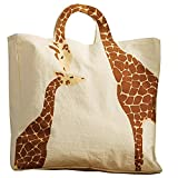 Women's Loving Giraffes Tote Bag - Natural Cotton Canvas