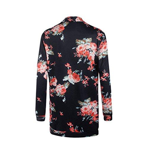 WanYang Mujeres Manga Larga Impresión Flores del Ocasionales Chaqueta de la Rebeca Camisa Blusa Negro