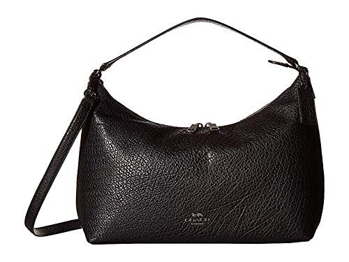 COACH Women's Pebbled Leather East/West Celeste Convertible Hobo Black One - Black Leather Coach Pebble
