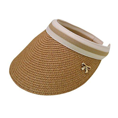 (Rebecca Women's Wide Brim Straw Visor Hat Sports Beach Clip-on Straw Hat Travel Sun Cap (Light Brown))