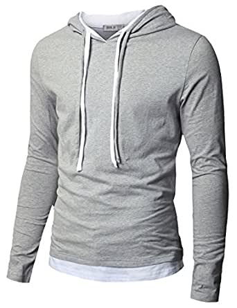 Doublju Mens Hood Pull-over with Contrast String GRAY (US-XS)