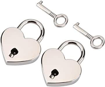 2pairs/set Heart-shaped Padlock & Skeleton Key Metal Lock