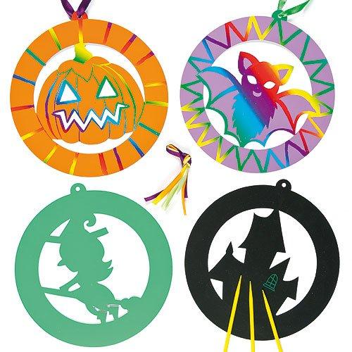 Baker Ross Halloween Scratch Art Decorations for Children (Pack of 6)