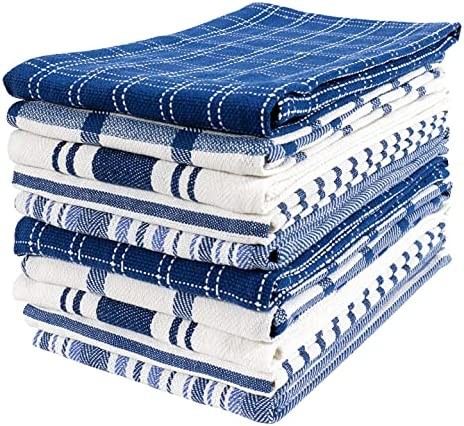 KAF Home Assorted Flat Kitchen Towels   Set of 10 Dish Towels, 100% Cotton – 18 x 28 inches   Ultra Absorbent Soft Kitchen Tea Towels   Perfect for Cooking, Cleaning, and Drying Hands (Navy)