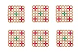 Bamboo Coaster Square Brown, Red & Green Color by Premsons