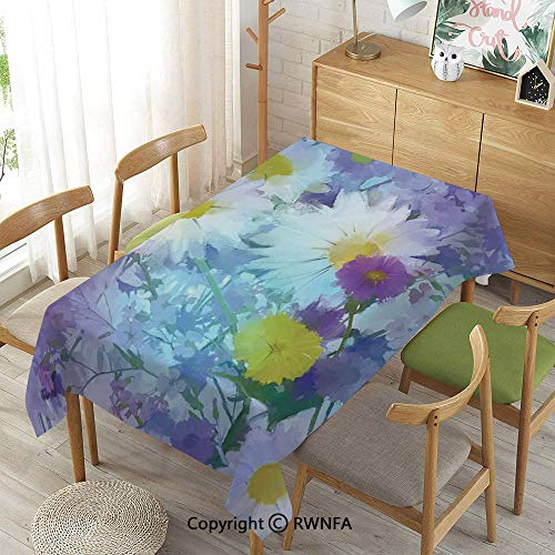 Homenon Decorative Rectangular Table Cloth,Vintage Flower in Pastel Color Fragrance Natural Bloom Beauty Print,Indoor Outdoor Camping Picnic,Multi,52