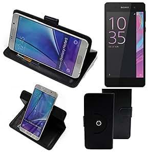 360° Funda Smartphone para Sony Xperia E5, negro | Función de stand Caso Monedero BookStyle mejor precio, mejor funcionamiento - K-S-Trade