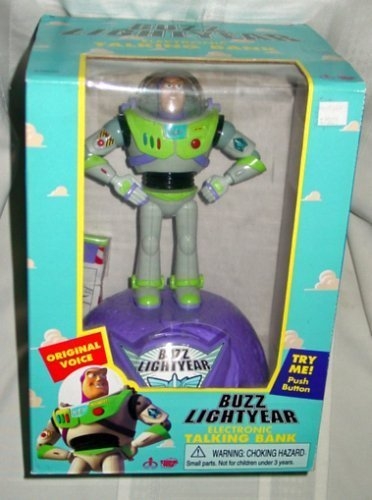 - Disney Pixar Original Toy Story Buzz Lightyear Electronic Talking Bank (1999 Thinkway Toys)