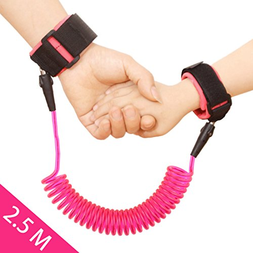 JINSEY Toddler Child Anti Lost Wrist Link Safety Harness Strap Rope Leash Walking Hand Belt Band Wristband for Kids, Baby - 2.5m Pink