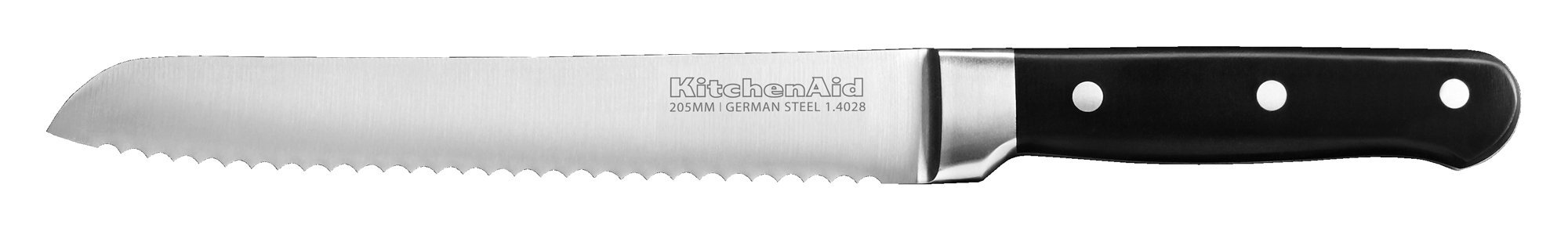 """KitchenAid KKFTR8BROB Classic Forged Series Triple Rivet Serrated Bread Knife, Onyx Black, 8"""" 1 High Carbon German 1.4028 Stainless Steel, giving them an exceptional and enduring razor sharp edge Our cutlery is tested to withstand the toughest dishwasher cycles Ergonomically engineered with full tang and bolster, our handles are designed for ultimate comfort and easy handle control"""