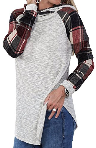 Womens Lightweight Long Sleeve Cotton Knitted Hoodie Casual Plaid Hooded Sweatshirt Tunic Pullover Tops