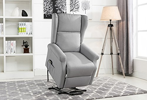 Cushion Recliner Like Swivel Leather (Power Recliner Chair, Lift Chairs, Linen Living Room Reclining Armchair (Light Grey))