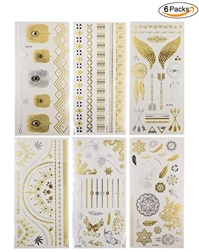 100+ Metallic Temporary Tattoos Glitter Body Art Stickers, Waterproof Shimmer Jewelry Flash Tattoos in Gold & Silver, 6 Sheets