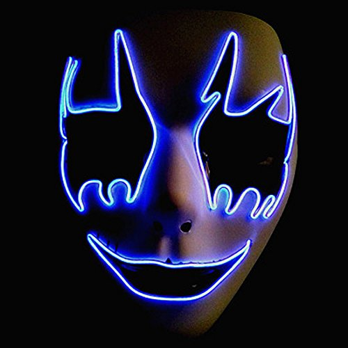 Circle Circle El Wire Glowing Mask Luminous LED Light Up Cool Christmas Halloween DJ Birthday Cosplay Death Grimace Masks for Festival Party Show (Cool Band Halloween Costumes)