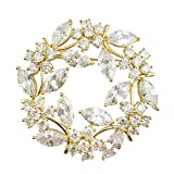 SELOVO Bridal Accessory Prong Cubic Zirconia Crystal Wreath Brooch Pin Pendant Gold Tone
