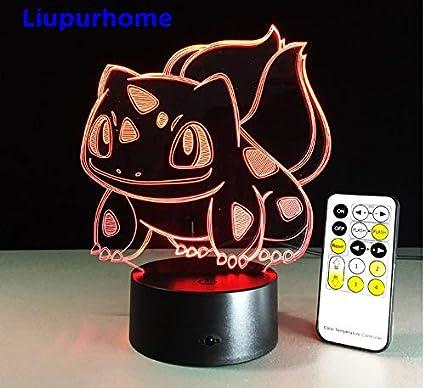 Amazon.com: Bulbasaur Poke Monster 3D LED Nightlight Table ...