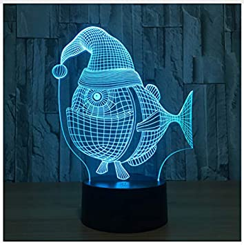 Amazon Com Fish With Cap 7 Color Lamp 3d Visual Led Night Lights