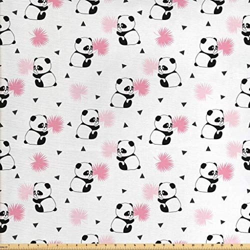 Lunarable Panda Fabric The Yard, Childrens Cartoon Style Bear Drawings Pink Foliage Leaves Chinese, Decorative Fabric Upholstery Home Accents, 1 Yard, Pale Pink Rose Black