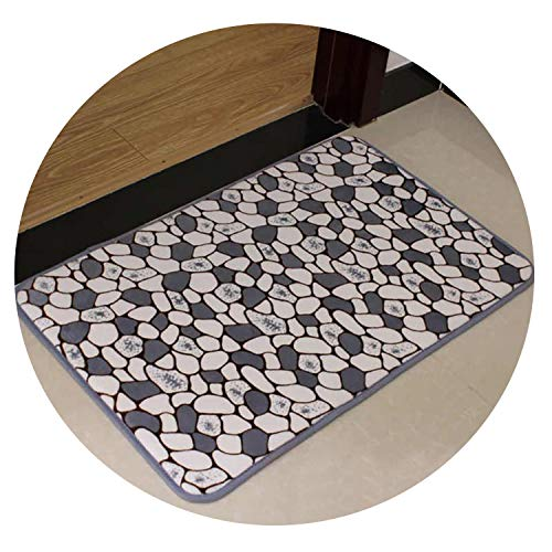 Machine Wash Thicker Non - Slip Bedroom Mat Kitchen Mat Bathroom Mat Luxury Home Living Room Mat 40x60cm,Grey Stone