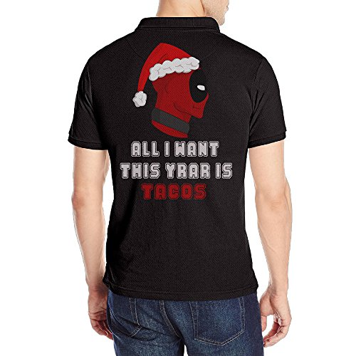 [Men's Deadpool Christmas Golf Performance Solid Short Sleeve Polo Shirt Black] (Wall E Costume Disney)