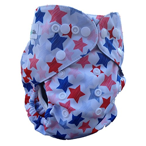 Cloth Diaper Inserts in Charcoal Bamboo (5 Layer) for All in One Size Pocket Baby Diapers (1 Pack, Stars)