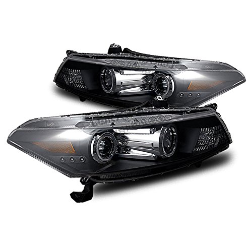 EpandaHouse Compatible with 08-12 Honda Accord 2Dr Coupe LED CCFL Angel Eyes Halo Black Projector Headlights