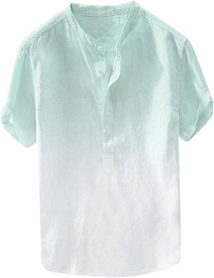 Sunnyuk Camisas,Hombre Manga Corta Botón Lazo Tinte Algodón Lino Camiseta Tops: Amazon.es: Deportes y aire libre