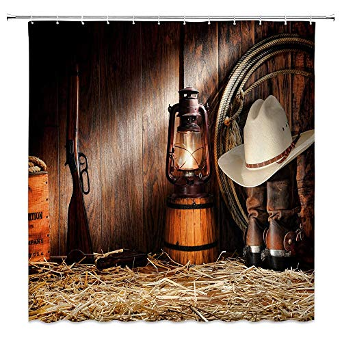 Western Shower Curtain Rural Wooden Farmhouse West Cowboy Dress up Bathroom Decor Set with Hooks,71X71 Inchs,Polyester Brown Yellow -