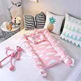 Eastern Corridor Baby Bassinet for Bed Baby Co-Sleeping Cribs & Cradles Lounger Cushion Portable Travel Infant Bed 100% Cotton Soft Newborn Lounger with Pillow (Cloud-Pink)