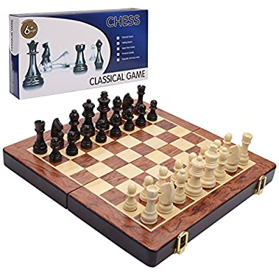 DOUBLEFUN Travel Chess Set, Classical Wooden Chess Set Folding Chess Board Game for Kids Adults with Instructions