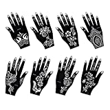 8 Pieces India Henna Tattoo Stencil Set for Women Girls Hand Finger Body Paint Temporary Tattoo (Hand Mix)