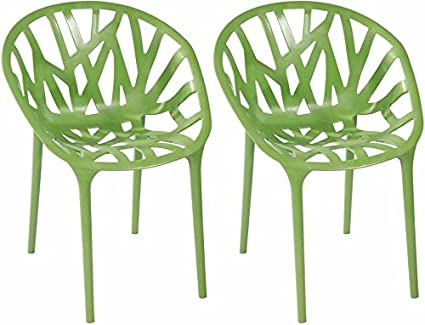Attirant Mod Made Branch Cut Out Dining Chair Stackable, Green, Set Of 2