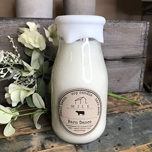 Milk Bottle Candle - Barn Dance - 12-1/2 -