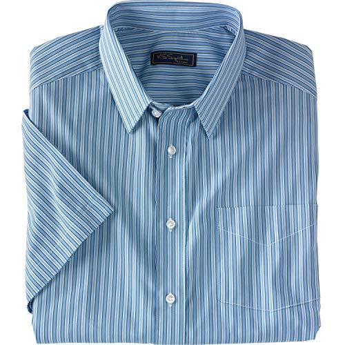 KS Signature Men's Big & Tall Classic Fit Broadcloth Flex Short-Sleeve Dress