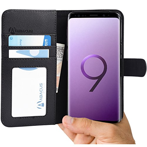 Abacus24-7 Samsung Galaxy S9 Case, Wallet with Flip Cover and Stand for the S 9 Phone - Black