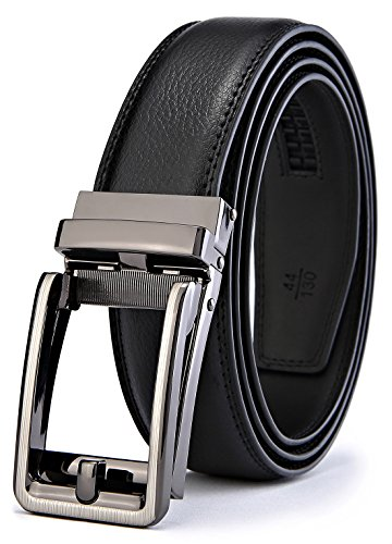 BULLIANT Men Belt, Leather Ratchet Belt Black for Men with Exact-Fit CLICK Buckle in Gift Box, ()